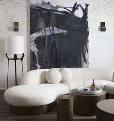 The contrasts and curves are totally speaking to me //. Always loved that floor lamp does anyone know the designer? . . . . . #designinspiration #interiordesign #livingroom #sofa #archdaily #decor #mydomaine #artwork #furniture #floorlamp #sophisticated #luxury #modern #contemporary #blackandwhite #interiordesigner