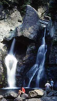 Bash Bish Falls State Park, -Mt. Washington, MA - One of Massachusetts' most dramatic and its highest single-drop waterfall. Cascading water tumbles through a series of gorges and a hemlock-hardwood ravine forest, and then drops about 60 feet into a sparkling pool below.