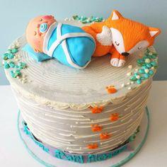 Woodland baby and fox baby shower cake