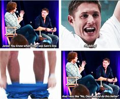 [SET OF GIFS] Jared and Jensen convention panel talking about 5x11 Sam, Interrupted #VanCon2011