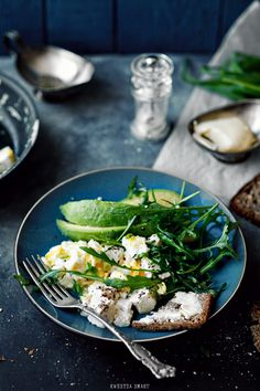 eggs, arugula, avocado, toast