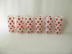 Hazel Atlas Red Polka Dot Tumblers Fire King Frosted by PassedBy