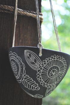 Flora Design Black and White Hanging Planter // Ceramic Succulent Planter