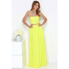 Maxed Out Yellow Two-Piece Maxi Dress ($76) ❤ liked on Polyvore featuring dresses, gowns, yellow, long dresses, white strapless dress, long white evening dress, white evening gowns e long gowns