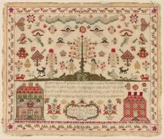 Philadelphia Museum of Art - Collections Object : Sampler 1809 Cross Stitch Sampler Patterns, Embroidery Sampler, Cross Stitch Samplers, Cross Stitch Embroidery, Couching Stitch, Primitive Stitchery, Antique Clocks, Needle And Thread, Needlework