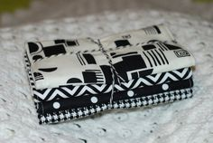 Baby burp cloths - black and white fabric. Set of 4 for $22