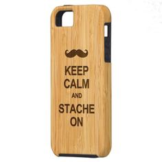Keep Calm and Grow Stache On in Bamboo Look iPhone 5 Cases