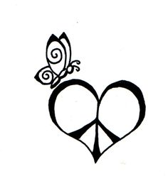 not sure about the butterfly, but like the heart peace sign