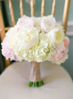 Peony and hydrangea bouquet. Even with different flowers, I like that there is no filler just soft blooms - chicnest.net
