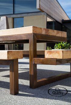 Quirky (kwurk'ee) - an unexpected twist or turn; a continuous groove in an architectural moulding Clean lines, cool designs – outdoor dining with a difference. Our new range of Quirky. Wooden Garden Furniture, Outside Furniture, Outdoor Furniture Design, Reclaimed Wood Furniture, Steel Furniture, Metal Picnic Tables, Outdoor Dining Chairs, Outdoor Tables, Rustic Outdoor