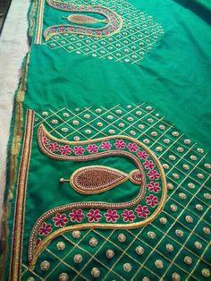 Wedding Saree Blouse Designs, Pattu Saree Blouse Designs, Blouse Designs Silk, Designer Blouse Patterns, Hand Work Blouse Design, Hand Work Design, Magam Work Blouses, Maggam Work Designs, Sleeve Designs