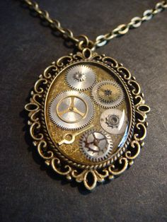 Victorian Stye Steampunk Necklace Gears Set in Ice Resin - Antique Bronze by CreepyCreationz, $19.00