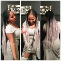 Center Part Ghana Braids Installed With Silver grey Ombre.