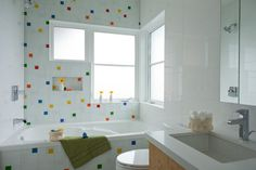 Here's a similar color scheme in a kids' bathroom. The Coppa Happy is perfect for a bright space.