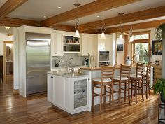 39280 Kitchen in Cape Cod style Lindal home. Small Kitchen Redo, Kitchen In, Kitchen Ideas, Wooden Kitchen, Cape Style Homes, Cape Cod Style House, Lindal Cedar Homes, White Wood Kitchens, Unique House Plans