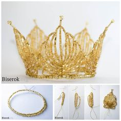 DIY Beaded Crown Tutorial from Biserok (original source). This is all about stringing beads on wire and combining them. I've posted so many tutorials for wire crafts here and aDIY Everything You Need to Know About Jewelry Wire from Jewelry Tutorial Headquarters.These are excellent easy to understand posts for anyone working with wire. For simpler wire crowns like the one below go here and for DIY Crowns go here.