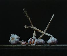 Still life with garlic bulbs. Roman Reisinger