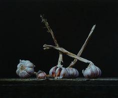 Still life with garlic bulbs