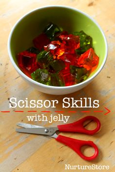scissor skills activity with jello :: learn to use scissors :: fine motor sensory play Cutting Activities, Eyfs Activities, Motor Skills Activities, Gross Motor Skills, Infant Activities, Indoor Activities, Therapy Activities, Nursery Class Activities, Pre School Activities