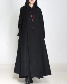 XB6-Women-Long-Woolen-Jacket-Overcoat-Chinese-Traditional-Handmade-Qipao-Buttons