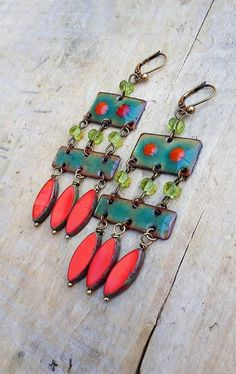 Holiday Earring Findings Enameled Pendants Christmas Earring Charms Jewelry Components Green White Red Floral Rustic Enamel Earring Pair