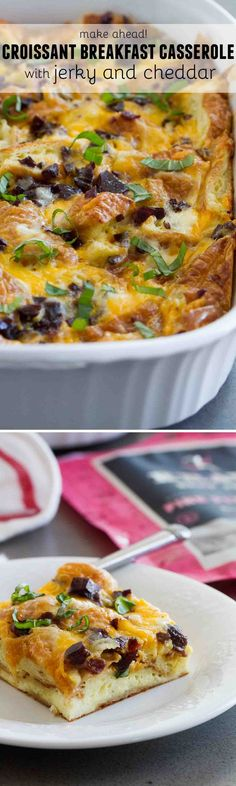 10 minutes prep the night before, and breakfast is a cinch in the morning! This Croissant Breakfast Casserole with Jerky and Cheddar is the perfect answer to busy mornings! #KRAVEjerky #KRAVEbetter #JerkyLove #Sponsored