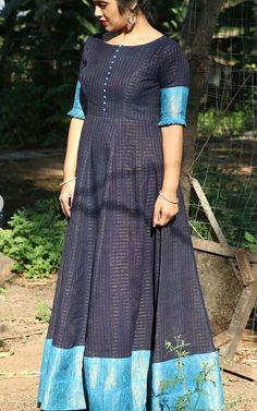 Long Dresses made out of old and Damaged Sarees - lakaluka Long Dress Design, Dress Neck Designs, Designs For Dresses, Blouse Designs, Blouse Patterns, Long Gown Dress, Frock Dress, Long Dresses, Long Gowns