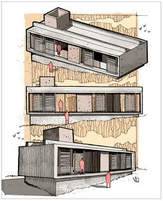 Fer Neyra on Behance Architecture Drawing Sketchbooks, Architecture Concept Drawings, Architecture Collage, Architecture Graphics, Architecture Visualization, Architecture Plan, Residential Architecture, Architecture Presentation Board, Planer