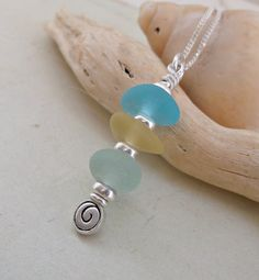 Stacked Seaglass Sterling Silver Necklace by SeahamWaves on Etsy, £25.00