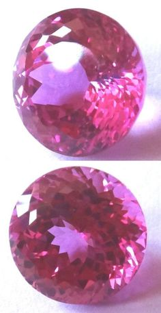 Lab-Created Sapphires 122958: Top Synthetic Hot Pink Sapphire Double Round Brilliant Cut, Sizes 8 - 10 Mm BUY IT NOW ONLY: $30.5