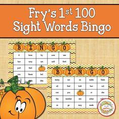 Fry Sight Words 1st 100 List Bingo Autumn by Sweetie's | TpT Learning Resources, Teaching Ideas, Kindergarten Blogs, School Reviews, Learn To Spell, Teacher Organization, Bingo Cards, Worksheets For Kids, Sight Words