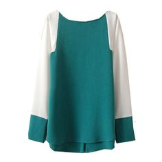 Green Contrast Long Sleeve Buttons Loose Blouse ($14) ❤ liked on Polyvore featuring tops, blouses, loose fit tops, loose fit blouse, blue blouse, long sleeve tops and green blouse