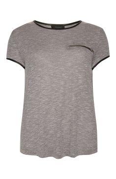 Primark - Grijsgemêleerd T-shirt met PU-details