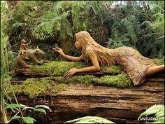 Over 150 wooden sculptures are located in Brunos Sculpture Garden in Melbourne, Australia.