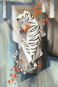 illustration, animal, tiger, design, figure, child, leaf. children's illustration by elnora