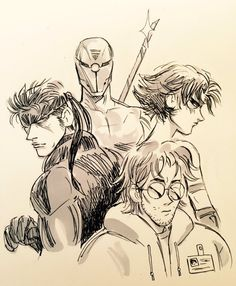Metal Gear Solid - Solid Snake, Grey Fox, Otacon, Meryl