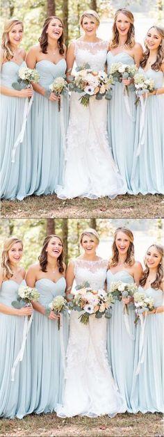 Simple A-Line Sweetheart Light Blue Chiffon Long Bridesmaid Dress BD043   bridesmaiddress When I 1f2dc38125a7