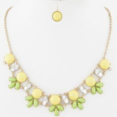 Pineapple inspired Jewel Cluster Necklace w/earrings on sale only $18 !