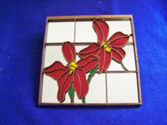 Acrylic and wood stained glass mirrored wall decor. via Etsy