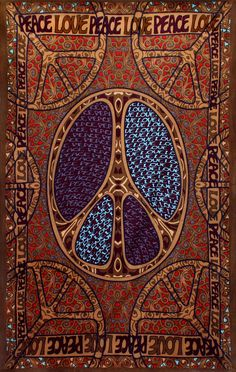 """60's Mod Love Peace Sign Tapestry 60X90"""" Curtain Wall Art With Corner Loops"""
