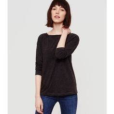 LOFT Lou & Grey Airy Cotton Boatneck Tee ($30) ❤ liked on Polyvore featuring tops, t-shirts, charcoal, long sleeve cotton t shirts, boatneck tee, charcoal t shirt, long sleeve boatneck tee and boat neck t shirt