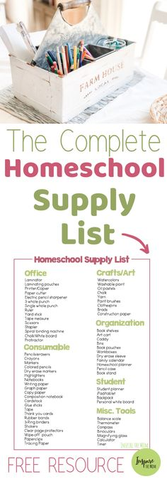 Complete List of Homeschool Supplies - Inspire the Mom A FREE, Complete List of Homeschool Supplies!A FREE, Complete List of Homeschool Supplies! Monthly Themes by Special Resources for Special Learners Homeschool Supplies, Homeschool Kindergarten, Homeschool Curriculum, Classroom Supplies, Kindergarten School Supply List, Art Supplies, Free School Supplies, Classroom Ideas, Home Learning
