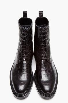 YANG LI Black Croc-Embossed Leather Lace-Up Boots