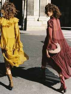The romance of flou – #chloeGIRLS hit the town wearing tiered flou dresses with the Drew by their side, as captured by Self Service Magazine during #PFW
