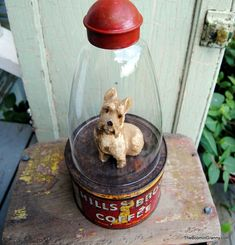 "An idea for all those Maxwell House tins, but with a wire cage built on top and a little ""prim"" critter or doll inside!"
