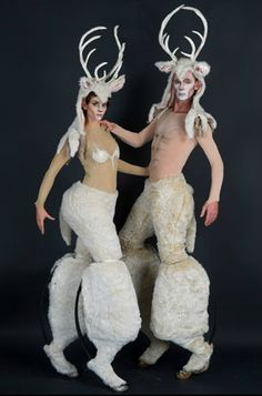 Silver and Lady Gent Stilt Walkers