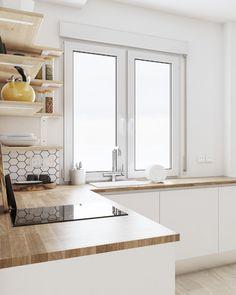 Kitchen Island, Ideas, Home Decor, White Kitchens, Nordic Style, Tiles, Interior Design, Studio, White People