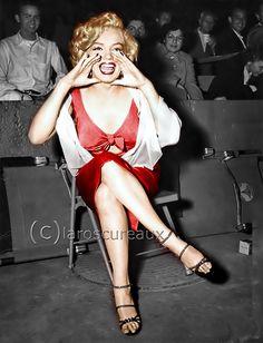 Photo: #HappyBirthdayMarilynMonroe Attending a nighttime baseball game at #GilmoreStadium #LosAngeles Aug 21, 1952 #MarilynMonroe