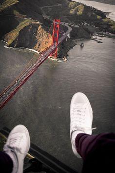 San Francisco, Golden Gate Bridge Shoe Selfie by FlyNYON Doorless Helicopter Flight