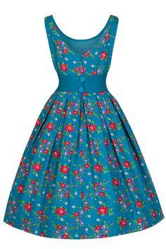 Lindy Bop 'Lana' Elegant Vintage 1950's Garden Party Prom Dress (M, Teal Floral)